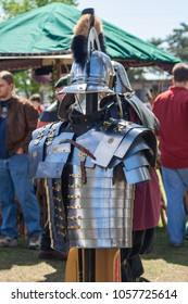 NORMAN, OKLAHOMA -  MARCH 31 2007: A knight's armor and helmet in annual Medieval Fair event
