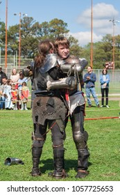 NORMAN, OKLAHOMA -  MARCH 31 2007: Two armored knights on horseback jousting in annual Medieval Fair event