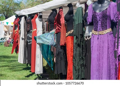 NORMAN, OKLAHOMA -  MARCH 31 2007: Colorful medieval costumes for sale in annual Medieval Fair event