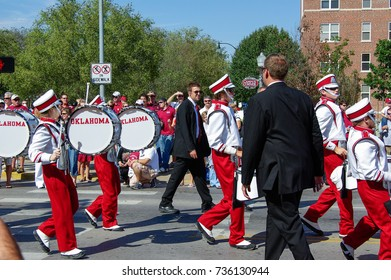 NORMAN, OKLAHOMA - OCTOBER 13 2007: Marching band plays drum in homecoming event
