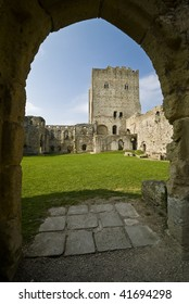 Norman Portchester Castle viewed through the gate