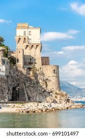 Norman Tower in Cetara, beautiful Mediterranean village on Amalfi Coast (Costiera Amalfitana) in Campania, Italy