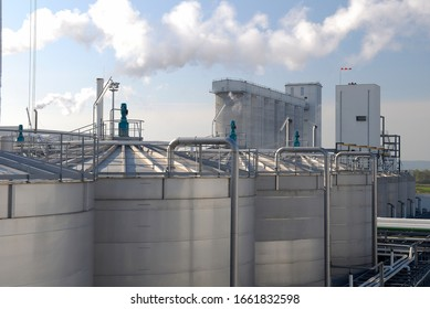 Normandie, France, August 2008. Bioethanol plant of Lillebonne in France. Bioethanol issue of cereal grains. Storage tank