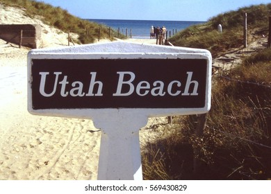 Normandie, France - June 1996::  Sign marker at Utah Beach on the D-Day Allied forces landing site on 6 June 1944