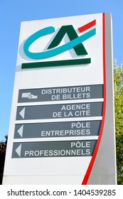 Normandy, Bois-Guillaume, France, April 2015. Regional headquarters of Crédit Agricole, french bank. Information panel