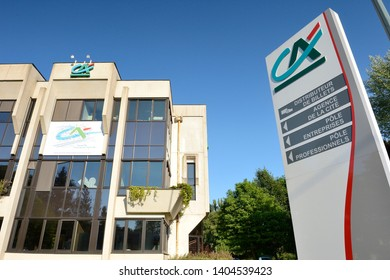 Normandy, Bois-Guillaume, France, April 2015. Regional headquarters of Crédit Agricole, french bank.