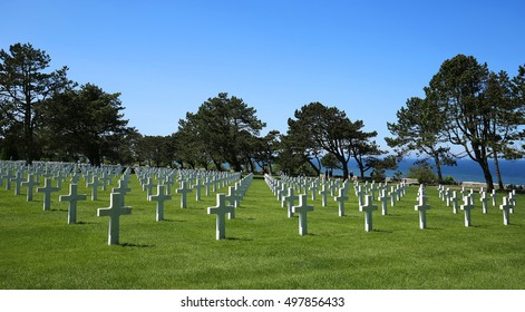 NORMANDY, FRANCE:  American Cemetery lined with crosses at Corlleville Sur Mer, a World War II cemetery that honors American troops who died in Europe during World War II, as seen on May 23, 2016.