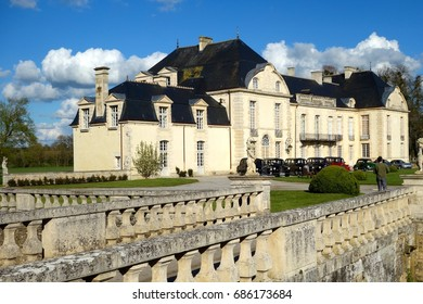 NORMANDY, FRANCE - APRIL 9: The castle Médavy is a beautiful 18th century house inspired by Mansart located on the road from Argentan to Sees, Normandy, in Normandy, France, April 9, 2016.