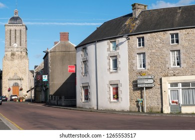 Normandy, France - August 25, 2018: View of the Church and street view in Montmartin-sur-Mer. Thes is a commune in the Manche department in Normandy in north-western France.