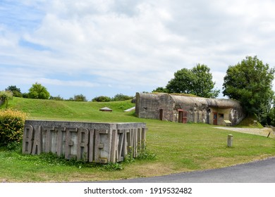 NORMANDY, FRANCE - July 4, 2017: Logo and entrance to the historic site of Batterie d'Azeville, in the battle of the Normandy landings during the Second World War.