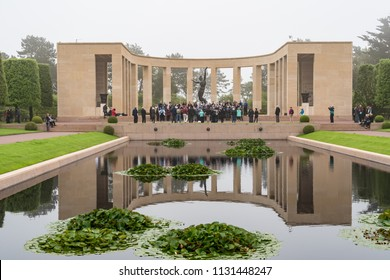 NORMANDY, FRANCE - June 12, 2018: Choir singing at the American Cemetery Memorial in Normandy in honor of the soldiers killed during the D-Day invasion in World War II.