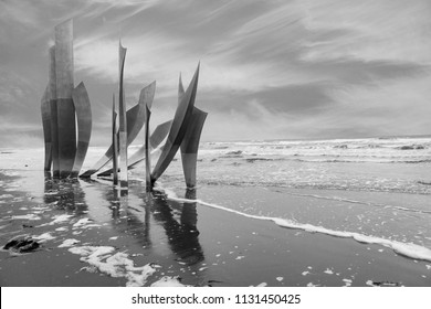 NORMANDY, FRANCE -  June 12, 2018: 'Les Braves' Omaha Beach memorial in Normandy, France, commemorating the D-Day landings of 6th June 1944