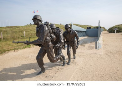 Normandy, France - June 2019: 75th Anniversary of the D-Day landings. Memorial to the Andrew Jackson Higgins and the Higgins landing craft, near Utah Beach, Normandy.