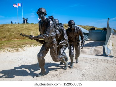 Normandy, France - June 2019: 75th Anniversary of the D-Day landings. Memorial to the Andrew Jackson Higgins and the Higgins landing craft, near Utah Beach, Normandy