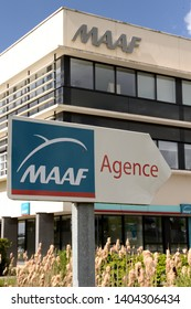Normandy, Isneauville, France, April 2015. Regional headquarters of the insurance company MAAF Assurances. Logo Maaf on information panel