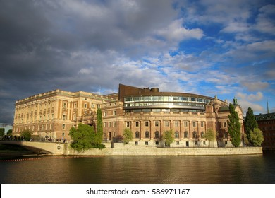 Norrbro bridge and view on parliament building (the former Riksbank) located on Helgeandsholmen in Stockholm, Sweden
