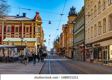 NORRKOPING, SWEDEN, APRIL 23, 2019: View of Drottninggatan street in central Norrkoping, Sweden
