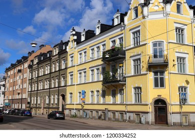 NORRKOPING, SWEDEN - AUGUST 25, 2018: Street view of Norrkoping, Sweden. Norrkoping is Sweden's 8th largest municipality with population of 137,326.