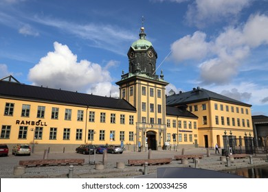 NORRKOPING, SWEDEN - AUGUST 25, 2018: People visit former industrial building of Holmen Tower in Norrkoping, Sweden. Norrkoping is Sweden's 8th largest municipality with population of 137,326.