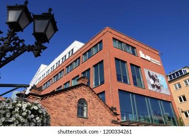 NORRKOPING, SWEDEN - AUGUST 25, 2018: Linkoping University campus in Norrkoping, Sweden. The campus is located in former industrial buildings.