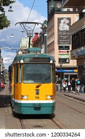 NORRKOPING, SWEDEN - AUGUST 25, 2018: Public transportation tram view of Norrkoping, Sweden. Norrkoping is Sweden's 8th largest municipality with population of 137,326.