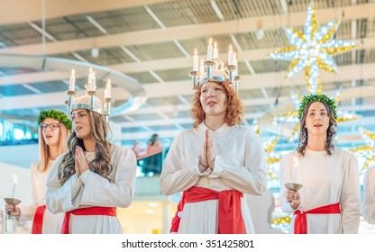 NORRKOPING, SWEDEN - DECEMBER 13: Lucia celebration on December 13, 2015 in Norrkoping. The celebration of Lucia or Saint Lucy is one of the dearest traditions in Sweden before Christmas.