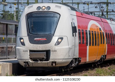 NORRKOPING, SWEDEN - JUNE 10, 2018: Commuter train between Norrkoping and Linkoping at Norrkoping Central Station. Linkoping and Norrkoping are the main cities in county Ostergotland.