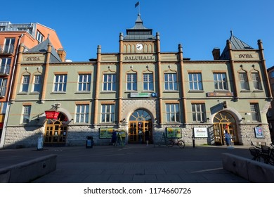 NORRKOPING, SWEDEN - JUNE 20, 2013:  Svea Market Hall in Norrkoping. The market hall was opened in 1899.