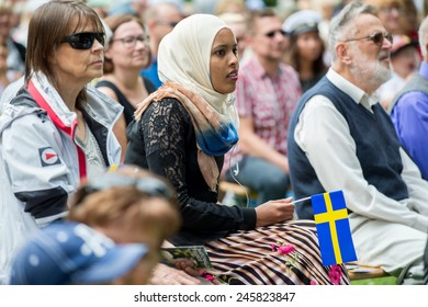NORRKOPING, SWEDEN - JUNE 6: Immigrants and native Swedes participating in National day celebrations on June 6, 2014 in Norrkoping. The national day of Sweden is an official holiday.