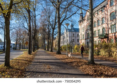 NORRKOPING, SWEDEN - NOVEMBER 6: The Southern Promenade on November 6, 2017 in Norrkoping. Norrkoping is a historic industrial town and the Boulevards in Paris inspired the Promenades.