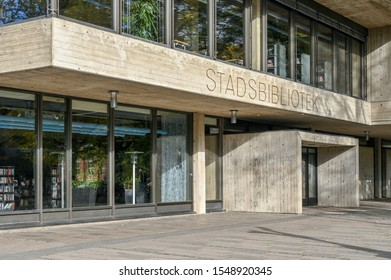 NORRKOPING, SWEDEN - OCTOBER 13, 2019: Entrance to Norrkoping city library. This building is a concrete example of brutalist architecture.