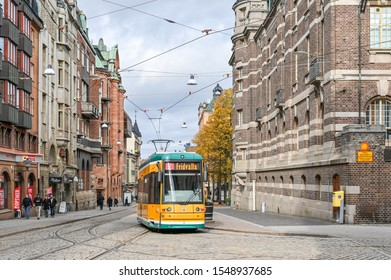 NORRKOPING, SWEDEN - OCTOBER 19, 2019: Norrkoping city center and main street Drottninggatan. Norrkoping is a historic industrial town in Sweden.