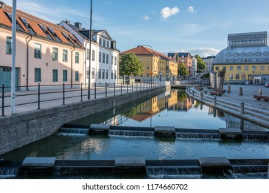 NORRKOPING, SWEDEN - SEPTEMBER 2, 2018: Residential street Dalsgatan on a quiet Sunday evening in the city centre of Norrkoping, Sweden. Norrkoping is a historic industrial town.