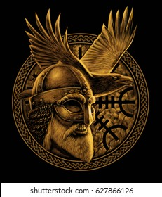 Norse God Odin with crow. Graphic illustration in the ring. Celtic ornament. Viking Warrior.