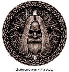 Norse God Odin with crows and old tree. Graphic illustration
