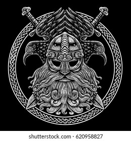 Norse God Odin with crows and swords. Graphic illustration in the ring. Celtic ornament. Viking Warrior