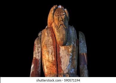 Norse God Odin isolated on black background,sagas, mythology, monuments, idols, Odin, Scandinavia, creation the supreme god