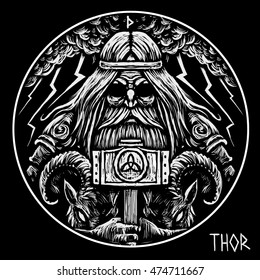 Norse God Thor with hammer and two war goats . Graphic illustration