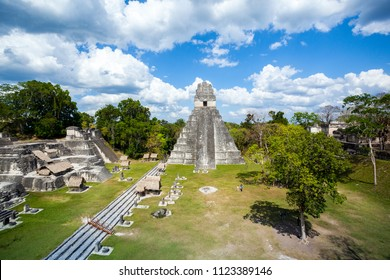 North Acropolis of the ancient Maya city of Tikal in Guatemala is an architectural complex that served as a royal necropolis.It was a centre for funerary activity. At the back Temple I,El Gran Jaguar