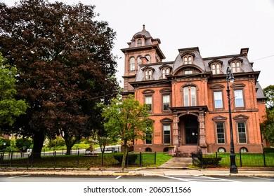 North Adams, Massachusetts, USA - October 5, 2021:  Historic public library in North Adams, MA