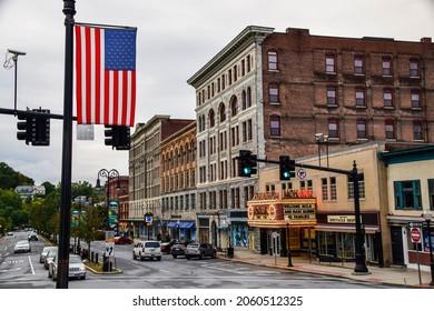 North Adams, Massachusetts, USA - October 5, 2021:  Downtown North Adams, MA, a cute, small town