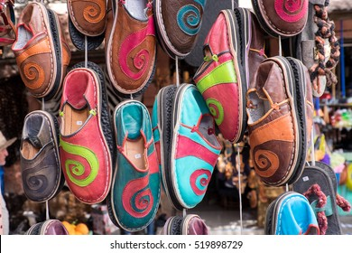 North Africa, Morocco, Marrakech. Babouch slippers.