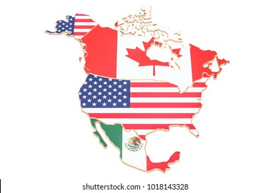 North america map with flags of the USA, Canada and Mexico. 3D rendering isolated on white background