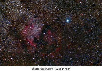 North America Nebula. Cygnus Constellation. Deneb. Telescope astrophotography.