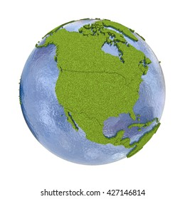 North America on 3D model of planet Earth with grassy continents with embossed countries and blue ocean. 3D illustration isolated on white background.
