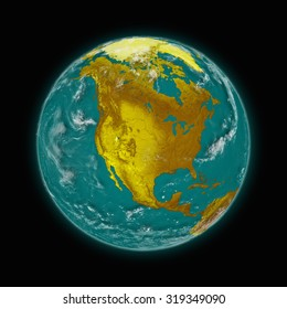 North America on blue planet Earth isolated on black background. Highly detailed planet surface. Elements of this image furnished by NASA.