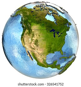 North America on highly detailed planet Earth with embossed continents and country borders. Isolated on white background. Elements of this image furnished by NASA.