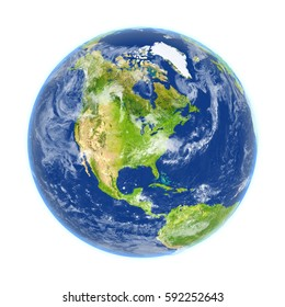 North America on planet Earth. 3D illustration with detailed planet surface isolated on white background. Elements of this image furnished by NASA.