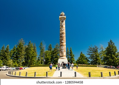 North America, Oregon, Clatsop County, Astoria, Columbia River, Coxcomb Hill. July 18, 2017. Built in 1926, Astoria Column has interior spiral staircase.