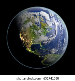 North America from space with visible city lights. 3D illustration with detailed planet surface. Elements of this image furnished by NASA.